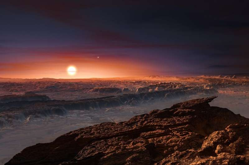 Artists rendering of what it would look like standing on the surface of an exoplanet.