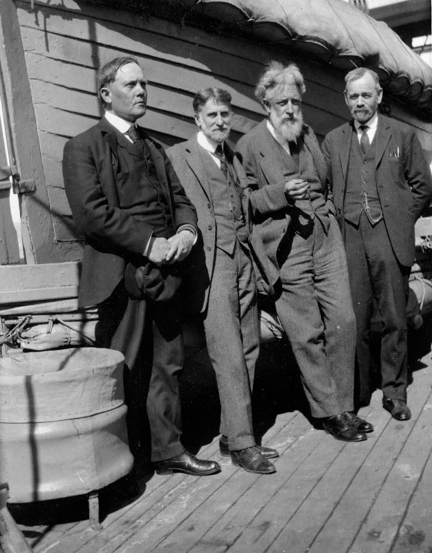 G. W. Littlehales, L. A. Bauer (DTM), H. S. Washington (GL), and H. H. Kimball on board the Regina d'Italia, en route to the Rome meeting of the International Union of Geodesy and Geophysics (IUGG)