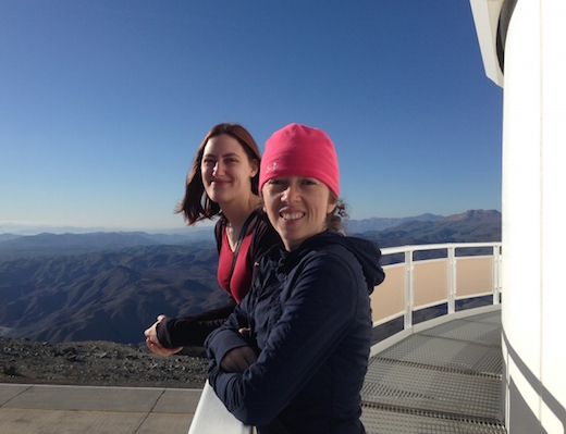 On the duPont Telescope at Las Campanas, we have a specialized astrometric camera, designed to measure the positions of stars with great accuracy. Here is DTM Postdocs Jackie Faherty and Jessica Donaldson on the catwalk. (Alycia Weinberger/DTM)