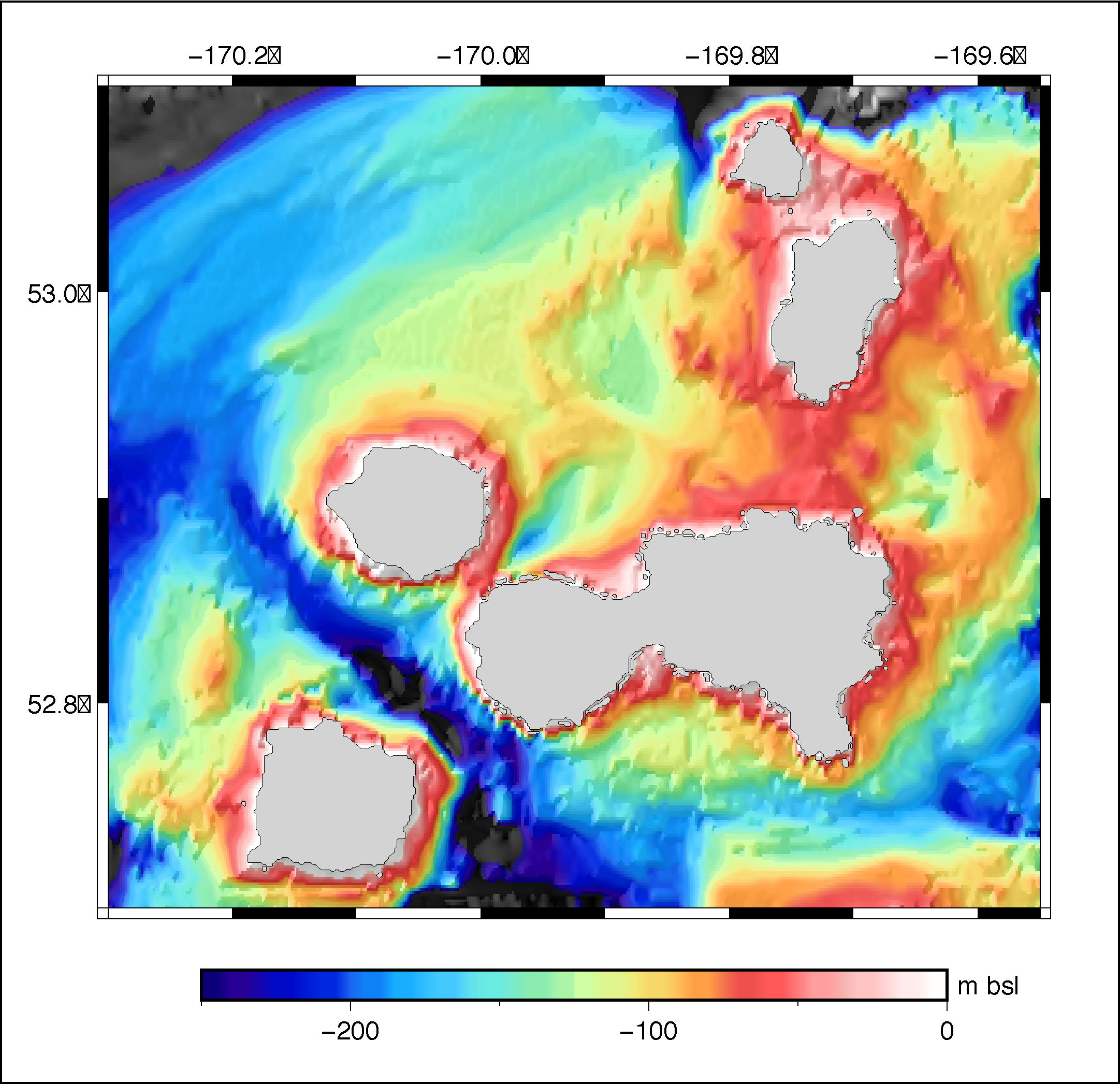 The bathymetry for the Islands of Four Mountains area, based on depth soundings collected in the mid-20th century. Image courtesy of Hélène Le Mével.