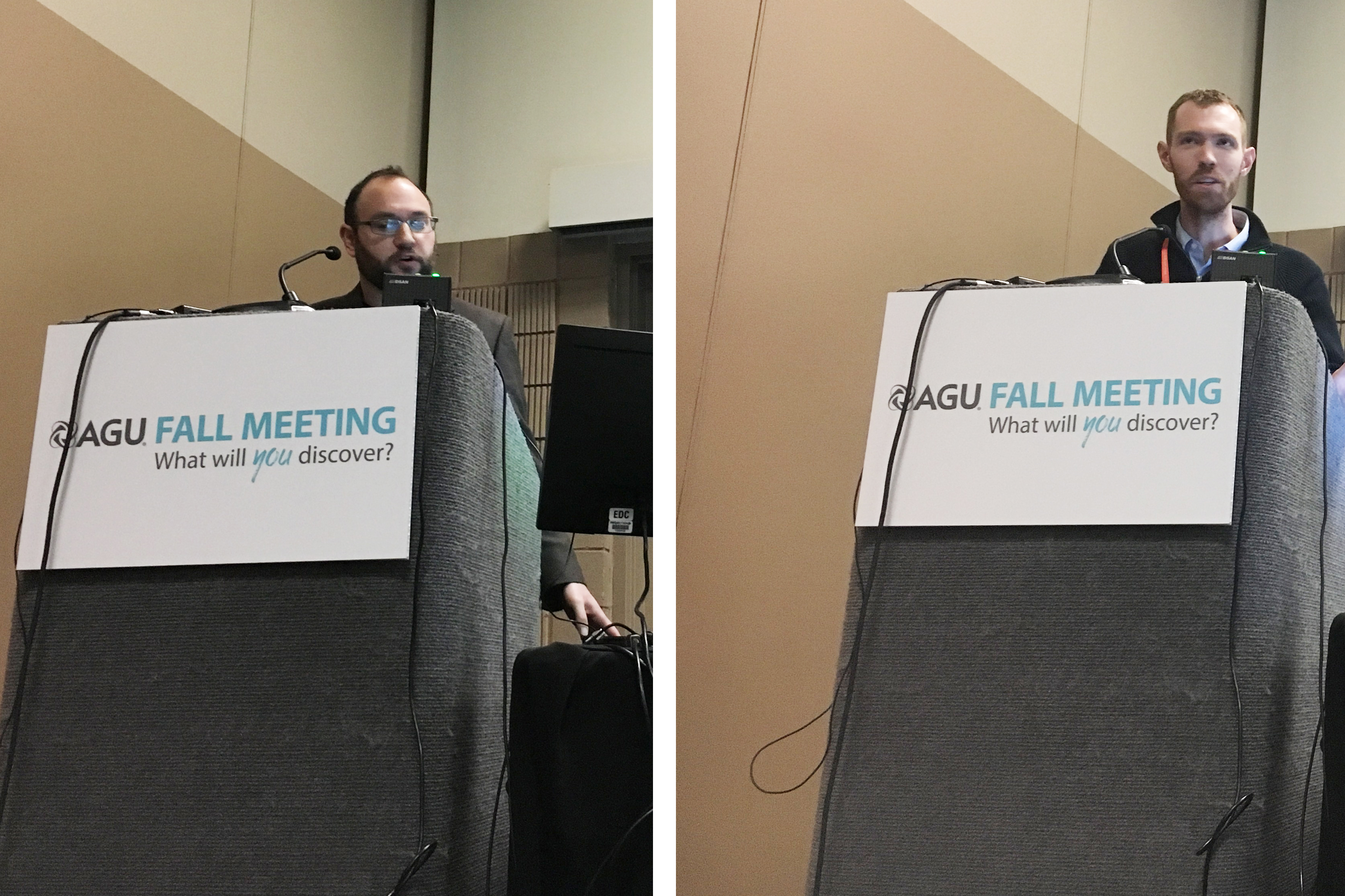 Jonathan Tucker and Bradley Peters at AGU 2017