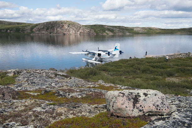 Figure 4:  Field party in the 3.5-billion-year-old rocks along Point Lake in the Northwest Territories of central Canada.   Photo by Matt Scott.