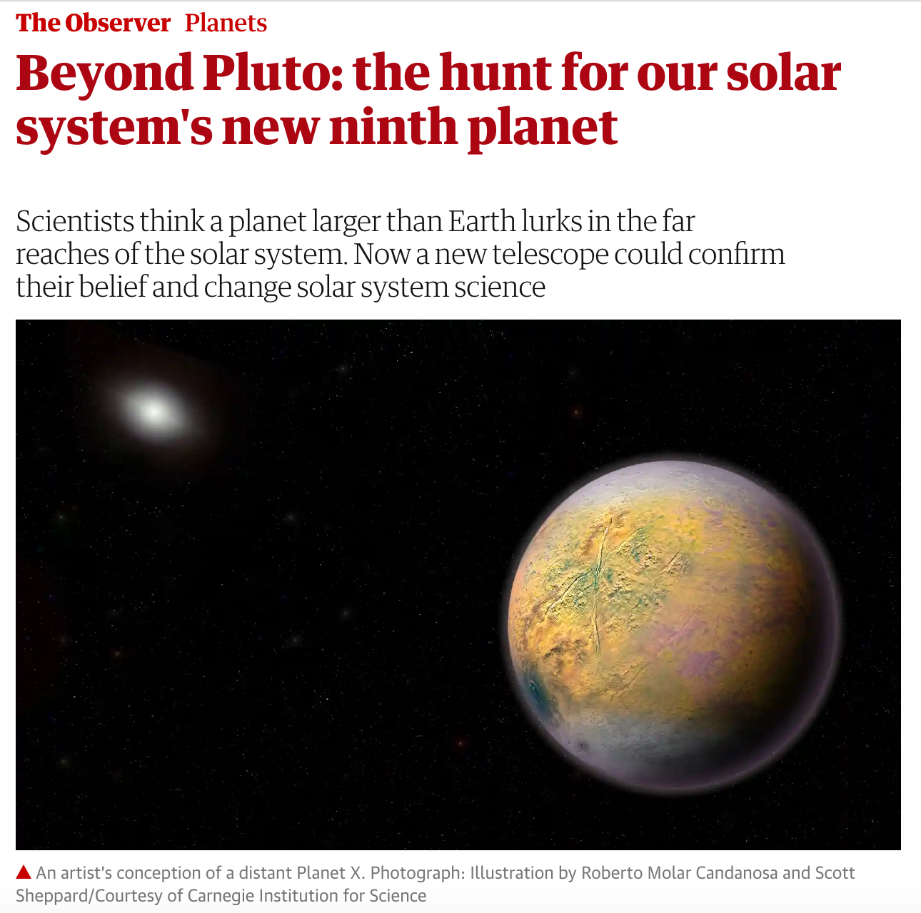 Scott Sheppard Talks to Guardian about Search for Planet X