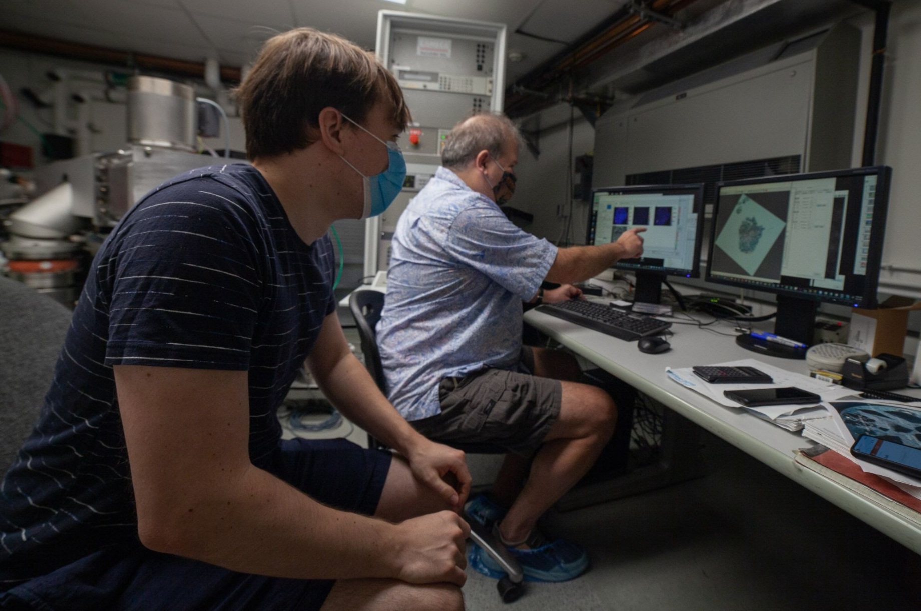 Larry and Jens Point at the Ryugu Asteroid on Screen
