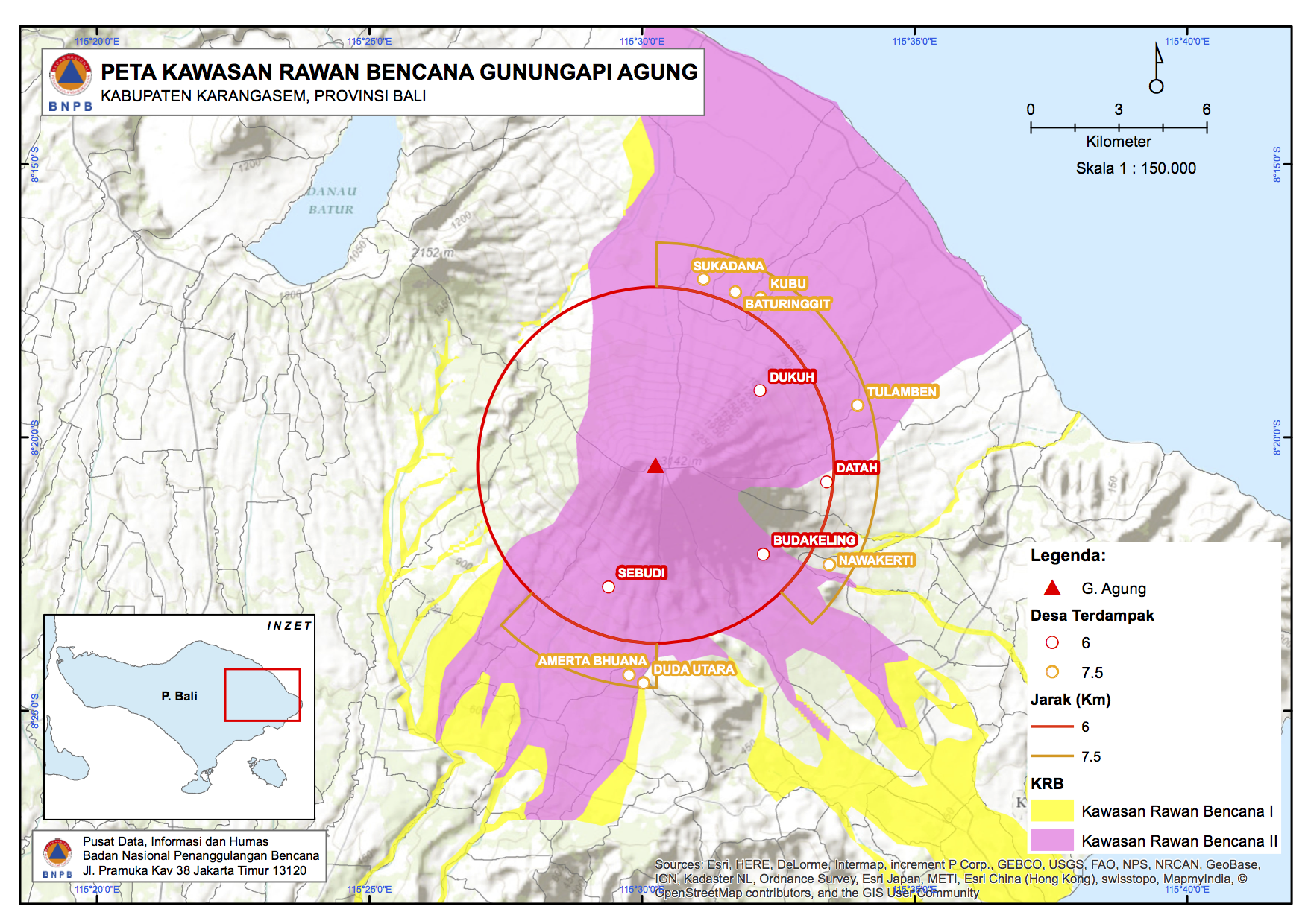 Mount Agung Hazard Map by Indonesian National Board for Disaster Management.