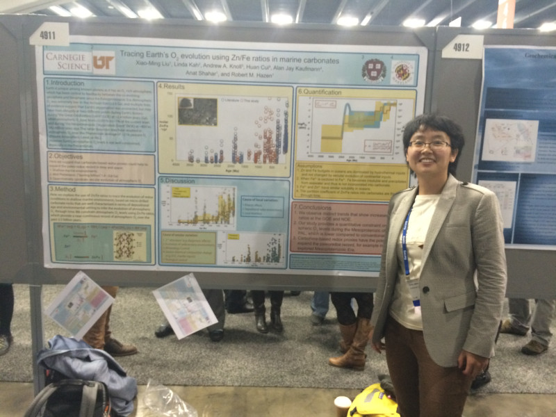 Xiao-Ming Liu presents a poster at the 2014 AGU conference when she was a Postdoctoral Fellow at the Carnegie Science Geophysical Lab, now Earth and Planets Laboratory.