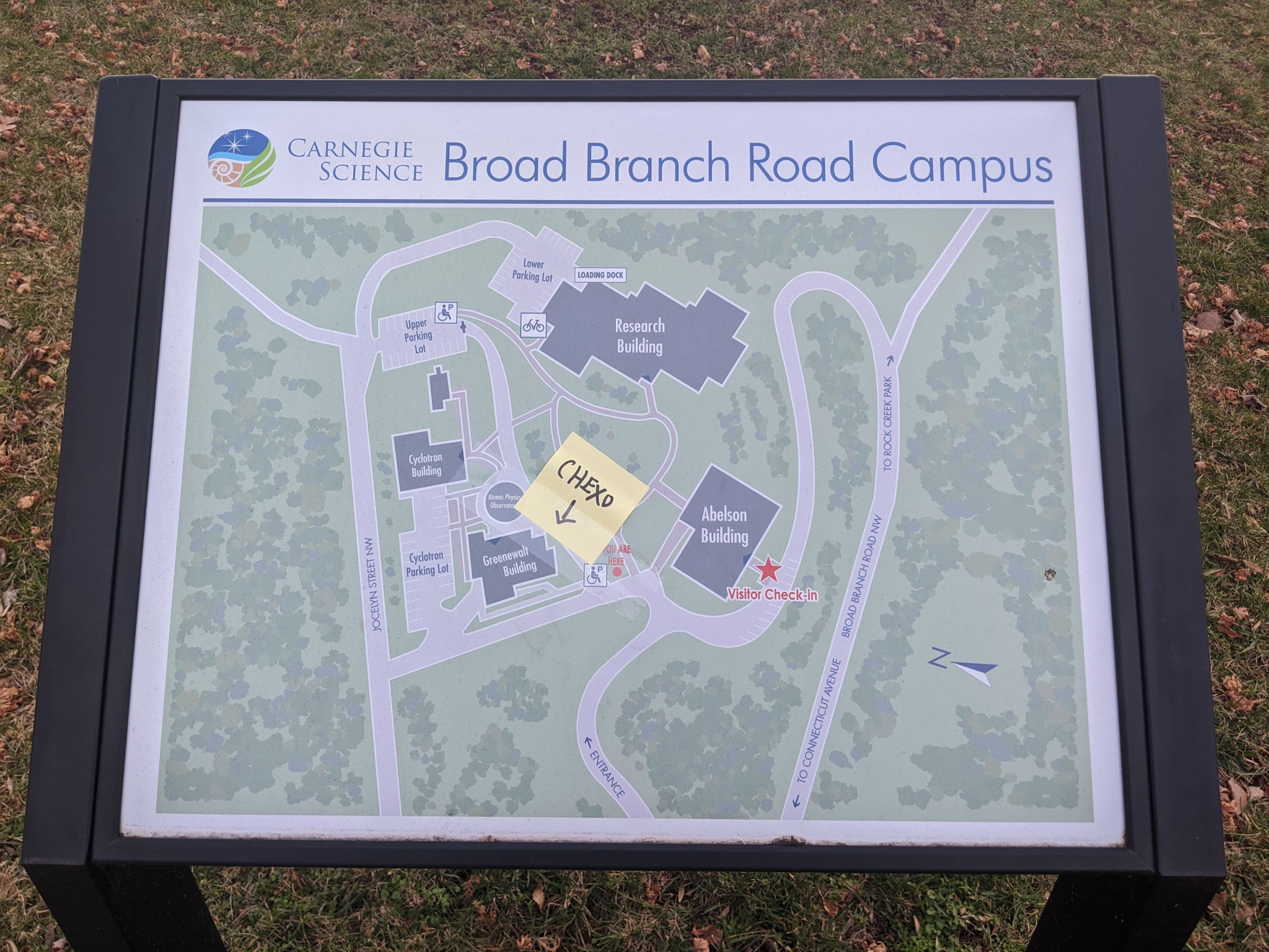 Broad Branch Campus Map with CHEXO sticky note attached,