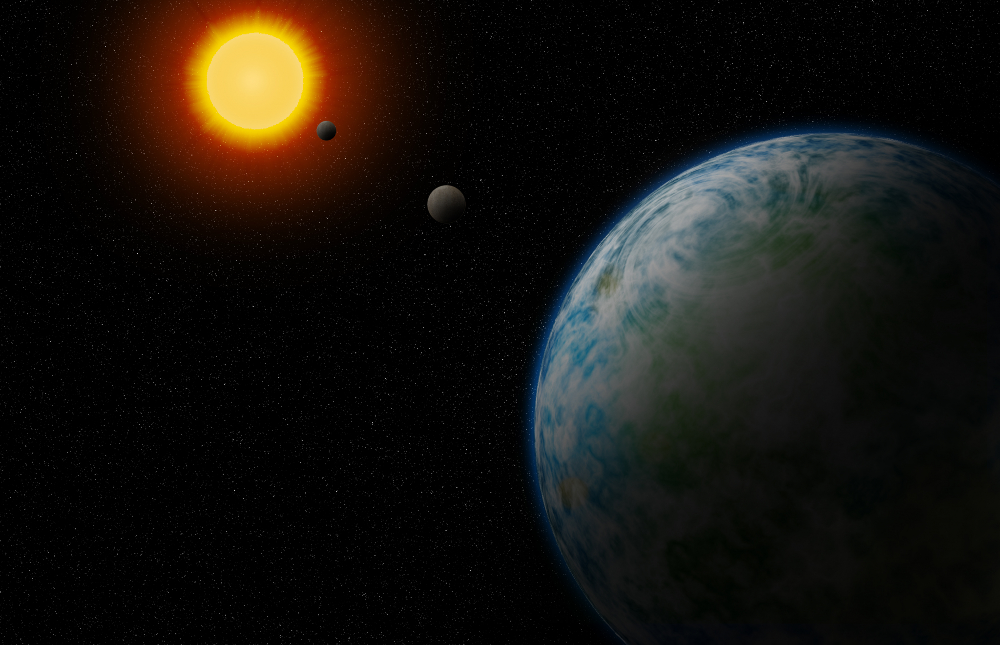 An artist's concept of GJ180d, which is the nearest temperate super-Earth to us that is not tidally locked to its star, making it more likely to be able to host and sustain life. Illustration is by Robin Dienel, courtesy of the Carnegie Institution for Sc