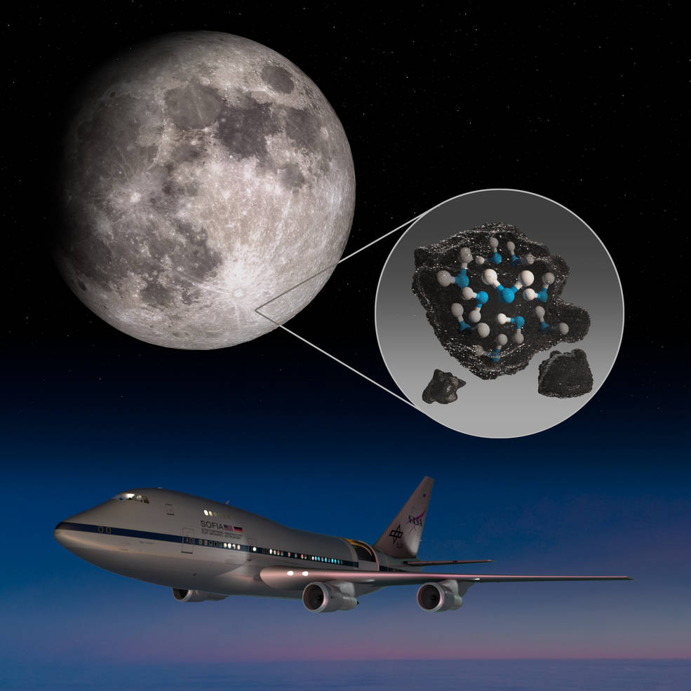 NASA illustration depicts water trapped in the lunar soil of the Moon's Clavius Crater and an image of NASA's Stratospheric Observatory for Infrared Astronomy (SOFIA). Credits: NASA/Daniel Rutter