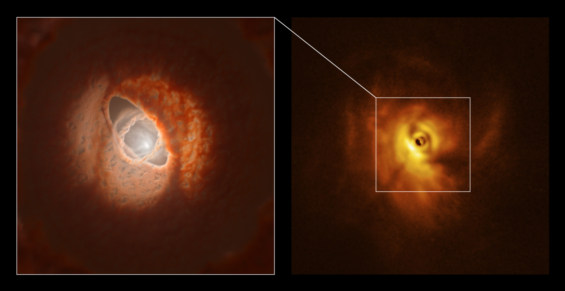 New observations of GW Orionis, a triple star system with a peculiar inner region, revealed that this object has a warped planet-forming disk with a misaligned ring.