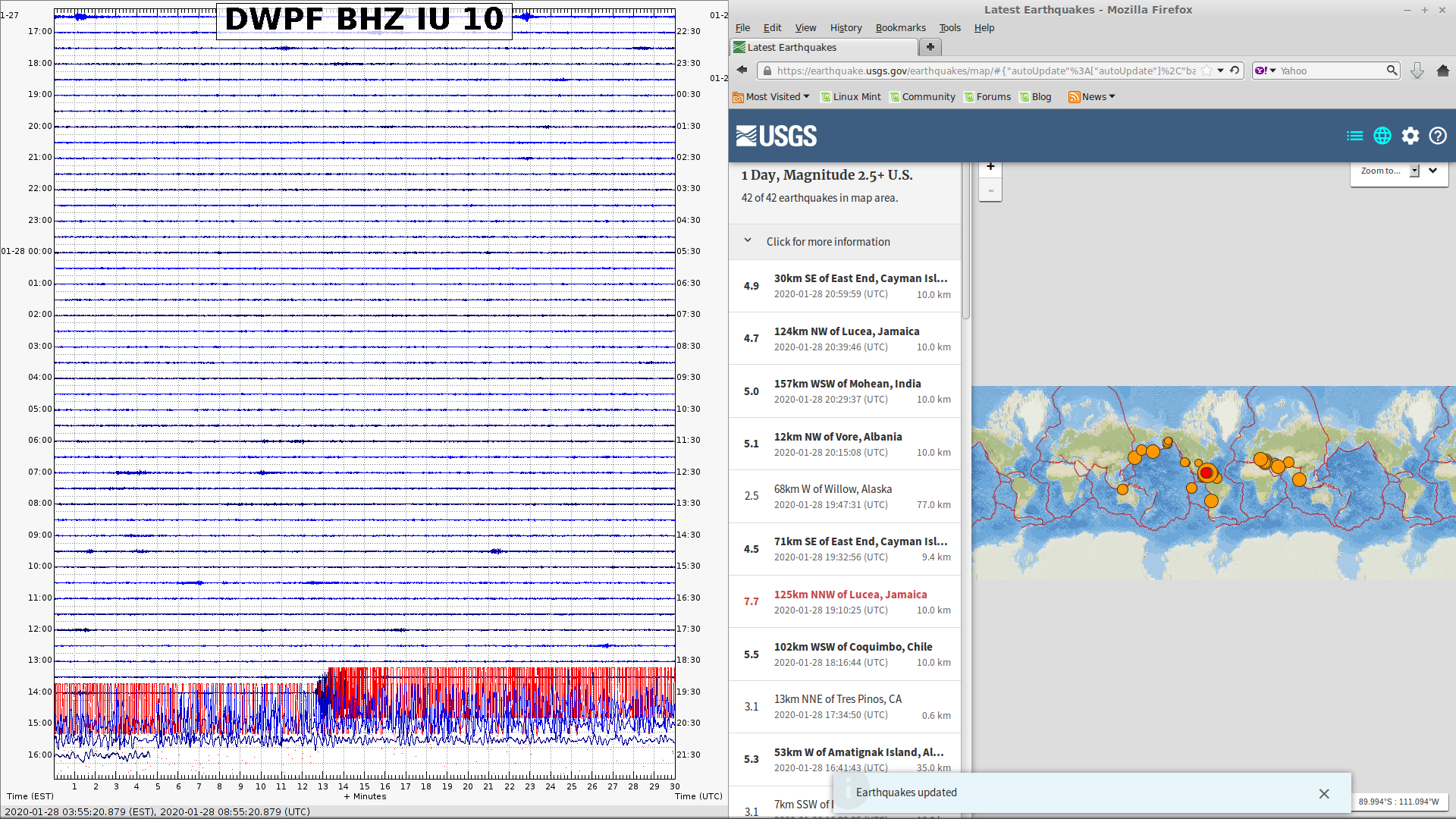 Seismic display at Carnegie Science Broad Branch campus the day of the earthquake