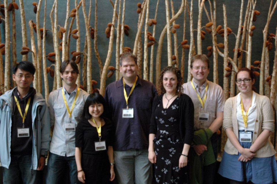 Larry Nittler w/ 6 Postdocs who worked with him. Taken at a conferences in 2014.