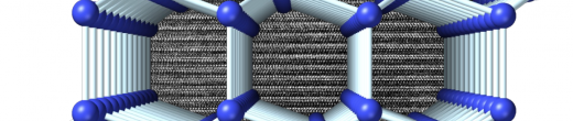 Visualization of the structure of 4H-Si viewed perpendicular to the hexagonal axis. A transmission electron micrograph showing the stacking sequence is displayed in the background.