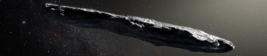 Artist's impression of the interstellar asteroid `Oumuamua. Credit: ESO/M. Kornmesser