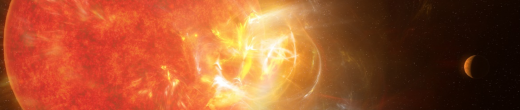 Artist's conception of a violent stellar flare erupting on neighboring star, Proxima Centauri. The flare is the most powerful ever recorded from the star, and is giving scientists insight intonthe hunt for life in M dwarf star systems, many of which have