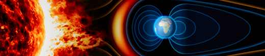 Earth's magnetic field protects our atmosphere from solar radiation.