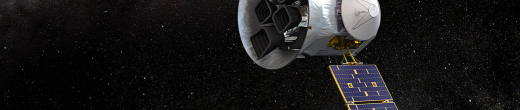 Artist's conception of the Transiting Exoplanets Satellite Survey, or TESS, (left) which identified the planet candidates studied by the MTS team. Illustration is courtesy of NASA's Goddard Space Flight Center.