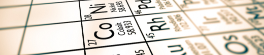 Stock image of the transition metals section of the periodic table